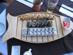 Sushi at Boaz (deep fried California Roll, Spider Roll, Spicy Crab Roll and classic California Roll