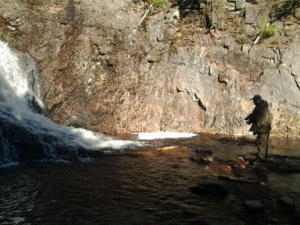 Ron fishing at Westfield Falls
