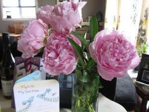 Peonies for Monica from Lorna - card from Nelly