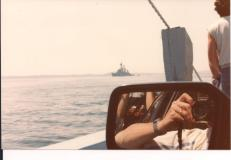 on ferry to Deer Island taking photo out car window 1984