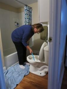 a Happy Birthday toilet scrubbing