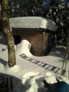 4 feet deep on wood shed