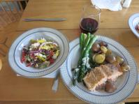 Salmon Charlotte with potatoes, asparagus and salad