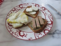 breakfast of champions - eggs, pork pate and goat cheese