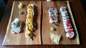 California roll, Lobster maki, Unagi maki and Giant maki.